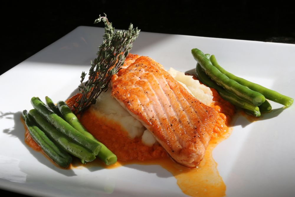 Photo of Oven-Roasted Salmon Filet Toscana (asparagus, xweet red pepper coulis and mashed…