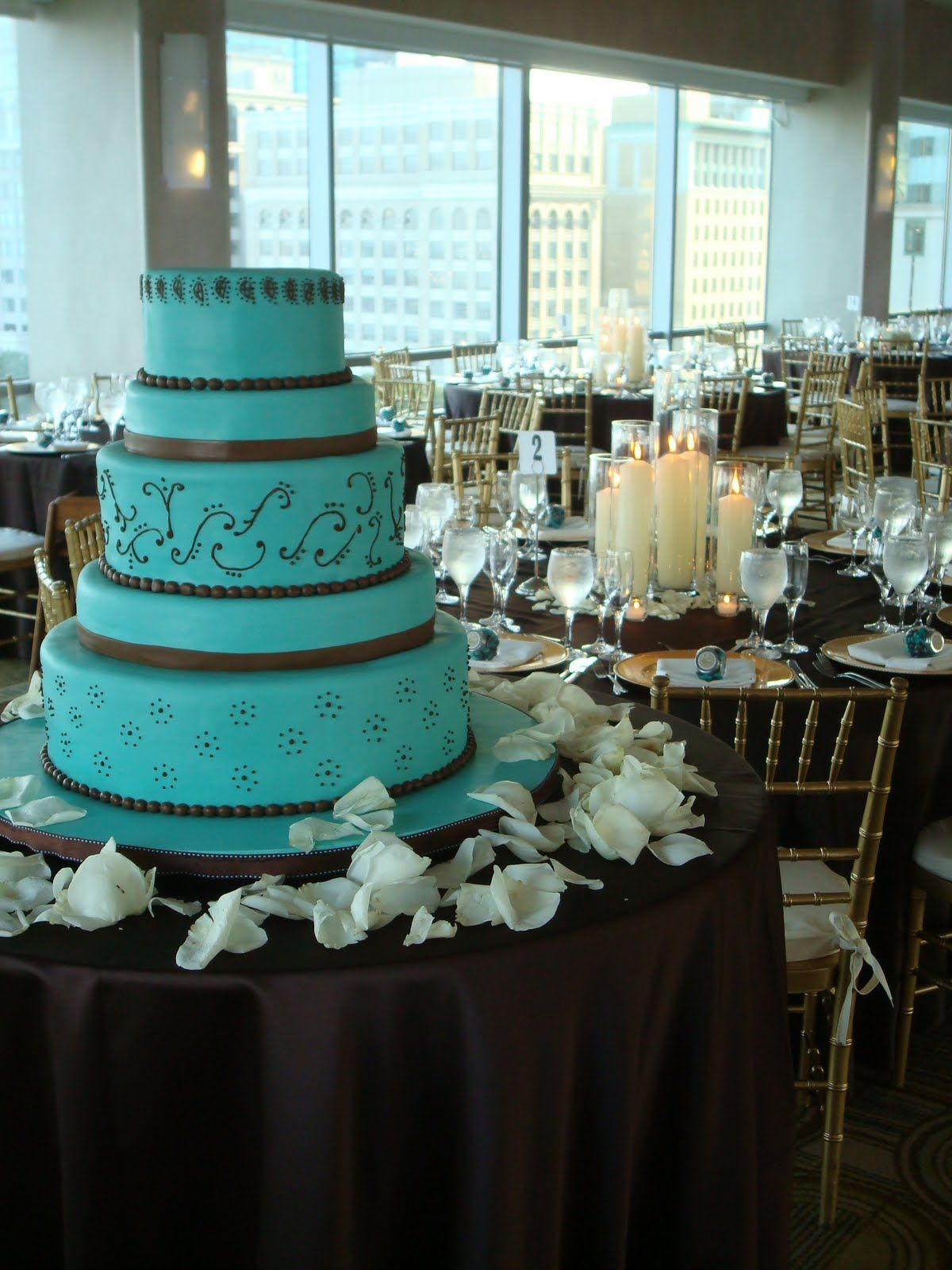 Aqua Blue And Brown Wedding Reception Cakes With Turquoise