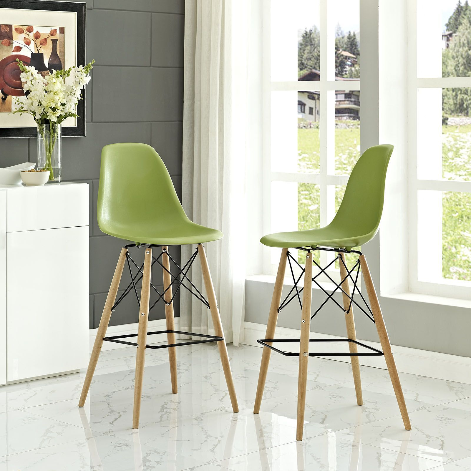 Folding dining table and chair set  Pyramid Dining Side Bar Stool Set of  Light Green  Rarely do we