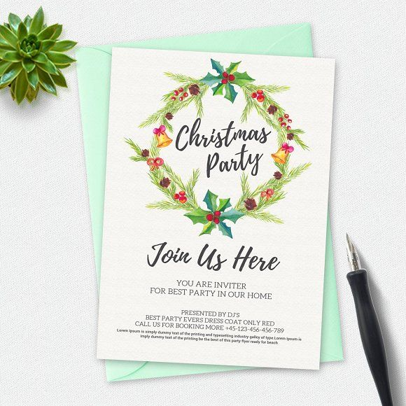 Christmas Party by Business Templates on @creativemarket Christmas - Invitation Flyer Template