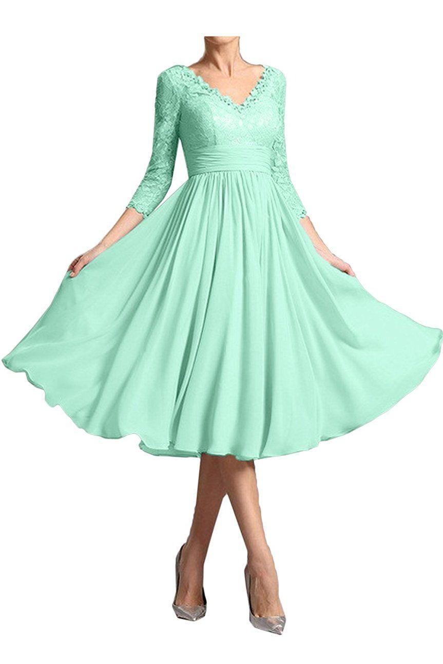 Green dress v neck  Sunvary Mild Mother Of The Bride Dress V Neck  Sleeve Lace Sheath