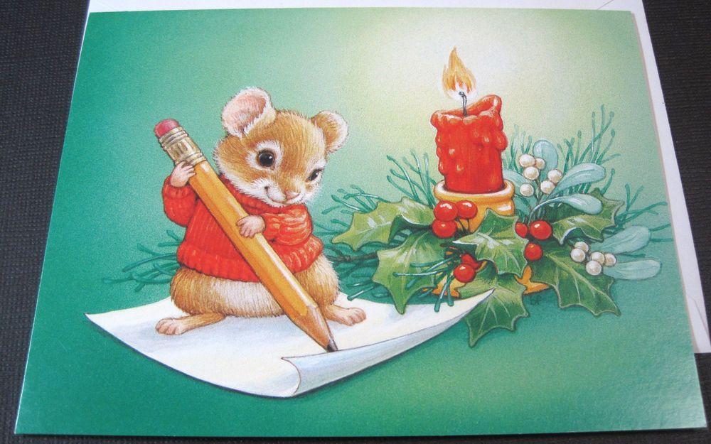 Unused vintage christmas card cute mouse writing letter current inc unused vintage christmas card cute mouse writing letter current inc blank card m4hsunfo