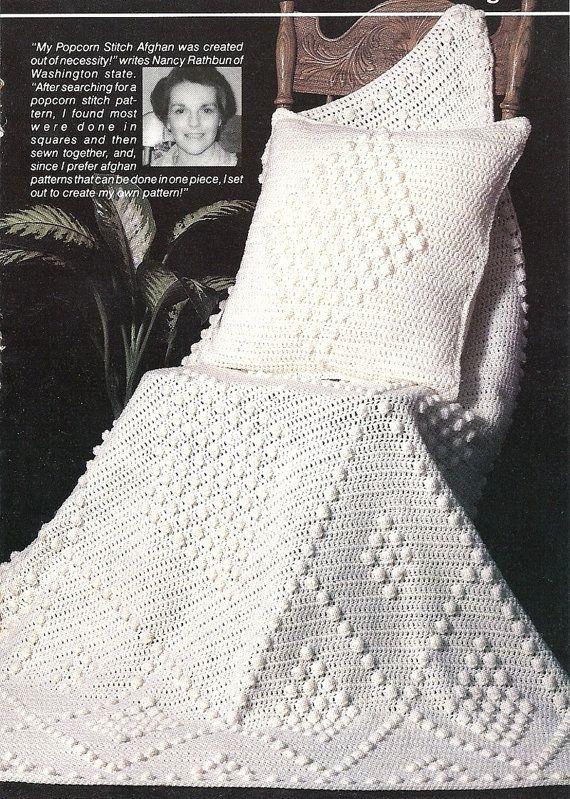 Popcorn Diamond Afghan, Pillow Vintage Crochet Pattern Throw Blanket ...