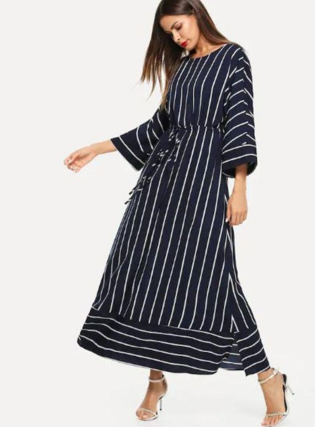 Shein Vertical Striped Drawstring Waist Maxi Dress Us 19 00 Striped Dress Floral Wrap Maxi Dress Floral Lace Maxi Dress [ 1402 x 1035 Pixel ]