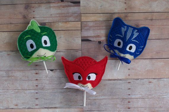 12 Mixed Combo Lollipop Sucker Covers Birthday Favor PJ Mask Bedtime Hero Inspired Gecko Catboy Owlette