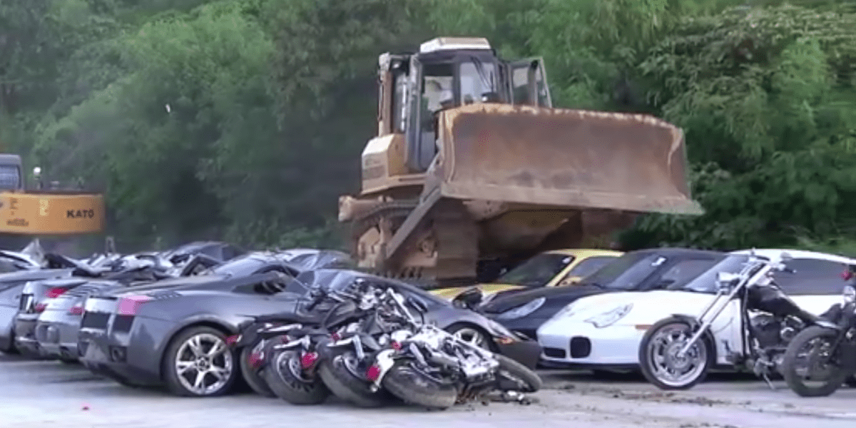 Watch 8 Million Worth Of Illegally Imported Cars Get Crushed In