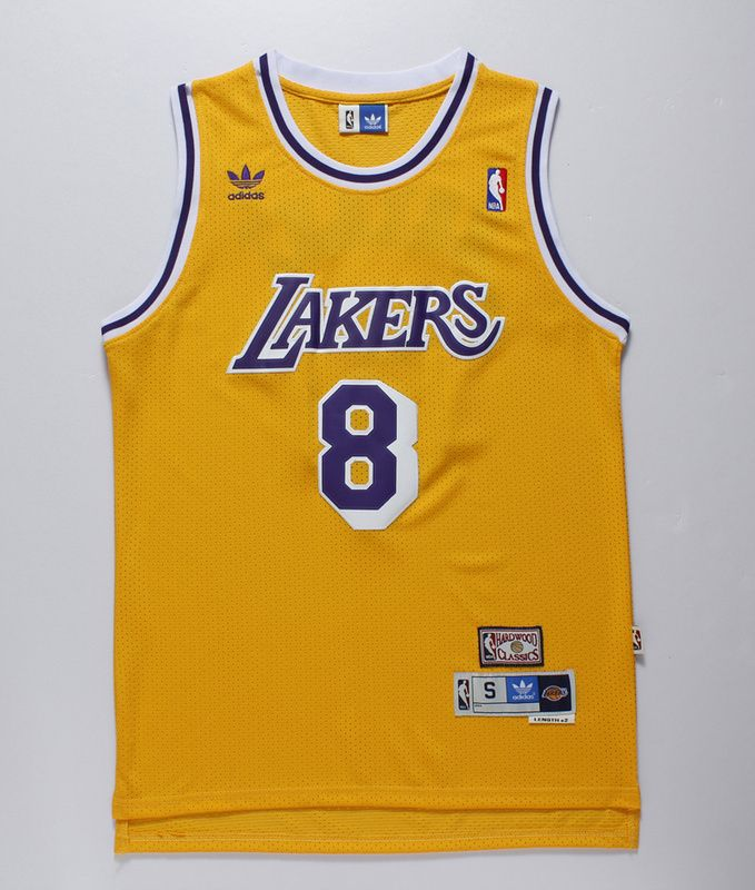 dacc0460d705 NBA Los Angeles Lakers 8 Kobe Bryant Yellow Authentic Throwback Jersey