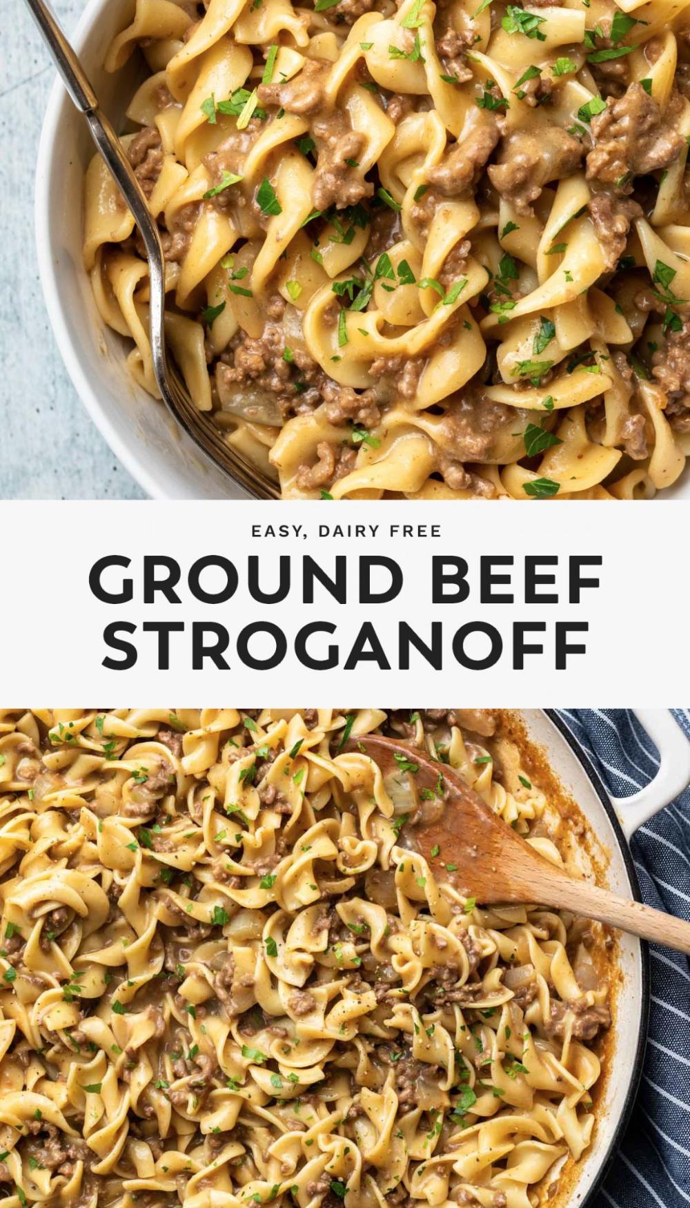 Ground Beef Stroganoff Recipe In 2020 Dairy Free Recipes Dinner Ground Beef Stroganoff Dairy Free Pasta