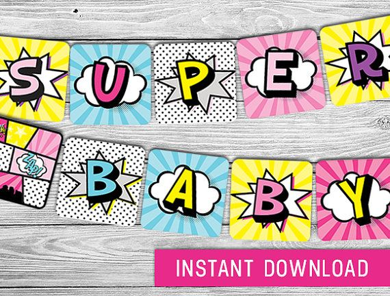 Printable Banner Pink Superhero Baby Shower Decorations Superbaby