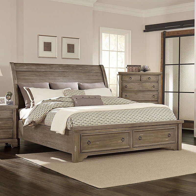 Best Whiskey Barrel Storage Bed Rustic Gray In 2020 King 640 x 480