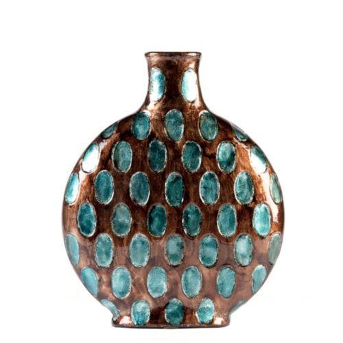 Blue Smoke Dotted Vase Brown Decor Teal Bathroom Decor Decor