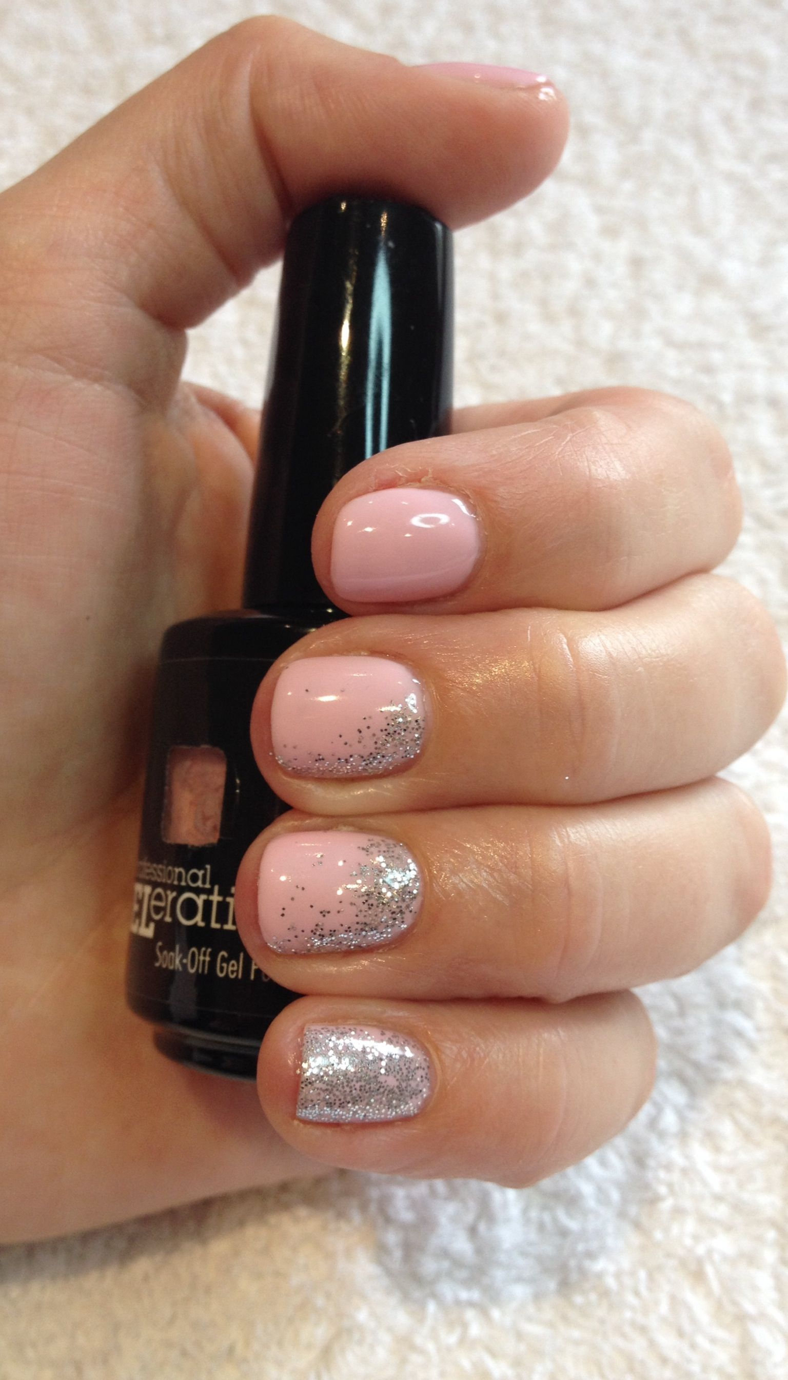 Jessica GELeration gel in Bellini Baby with loose silver glitter ...
