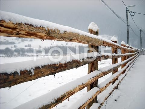 Wooden fence covered by snow Stock Photos ,#covered#fence#Wooden#Photos