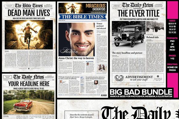 5 newspaper templates bundle diy clipart fonts graphic