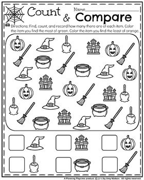 Adorable kindergarten worksheets for Halloween. Find, count, and ...