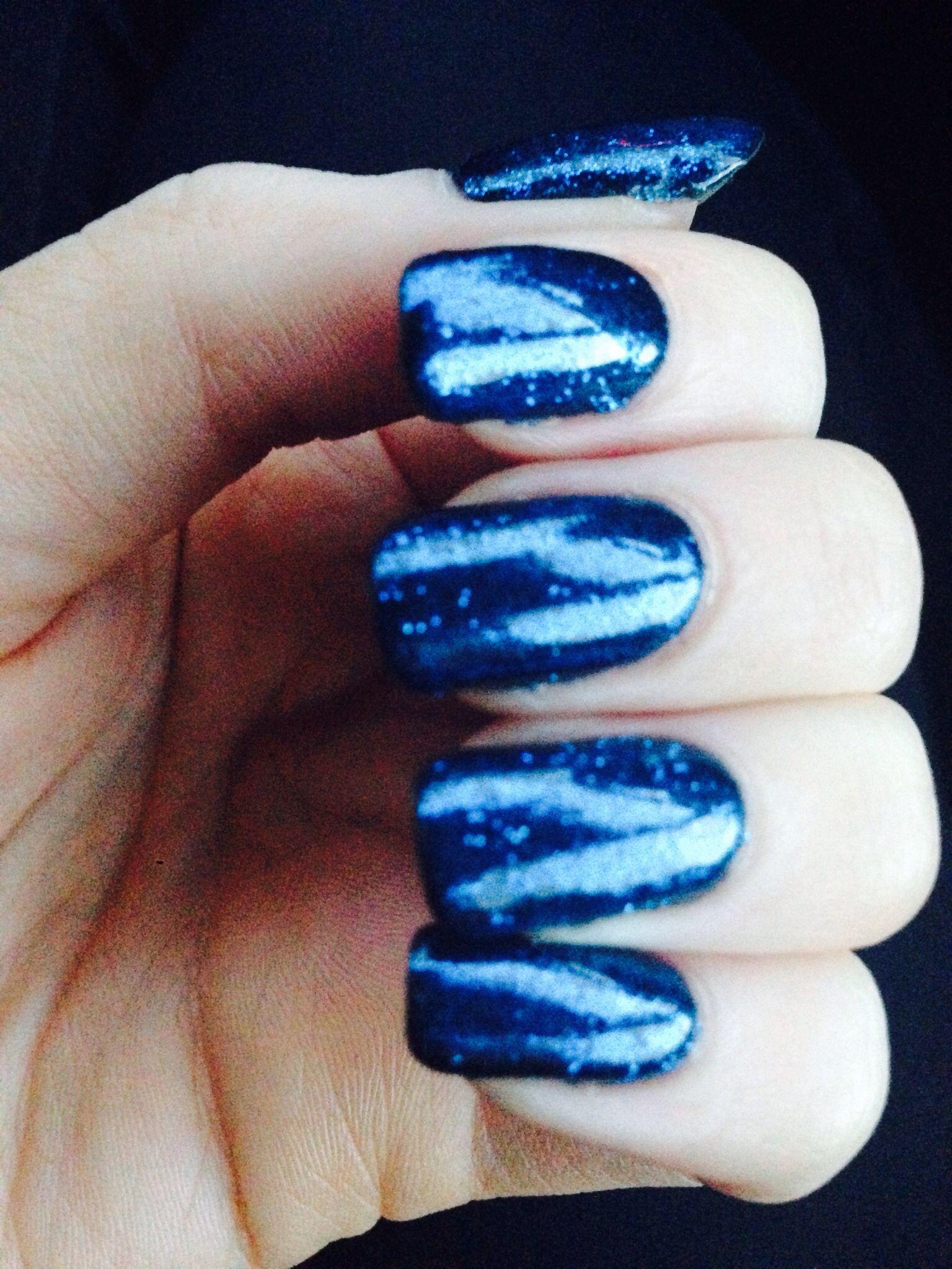 Sparkly navy blue shellac nails! Midnight swim & inky blue glitter ...