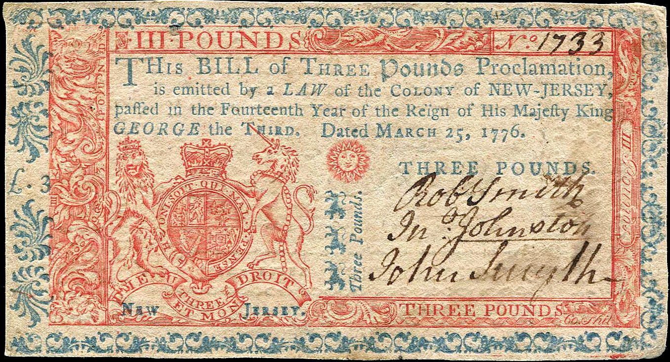 Nj 3 Pound Note 1776 Banknotes Money