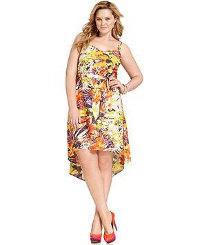 Jessica Simpson Plus Size Dress, Sleeveless Printed High-Low - Plus Size Dresses - Plus Sizes - Macy's