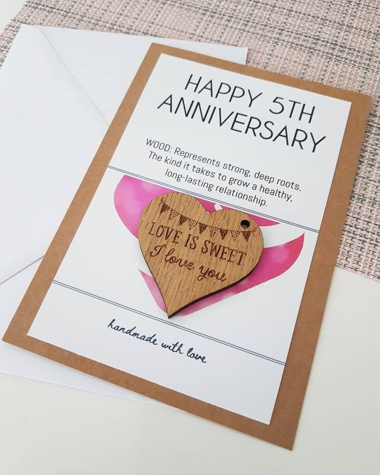 5th Anniversary Card And Gift Husband Gift Wife Card Wood Wooden Gift Wedding Anniversary Gift For Him Gifts For Husband Wooden Gifts Anniversary Cards