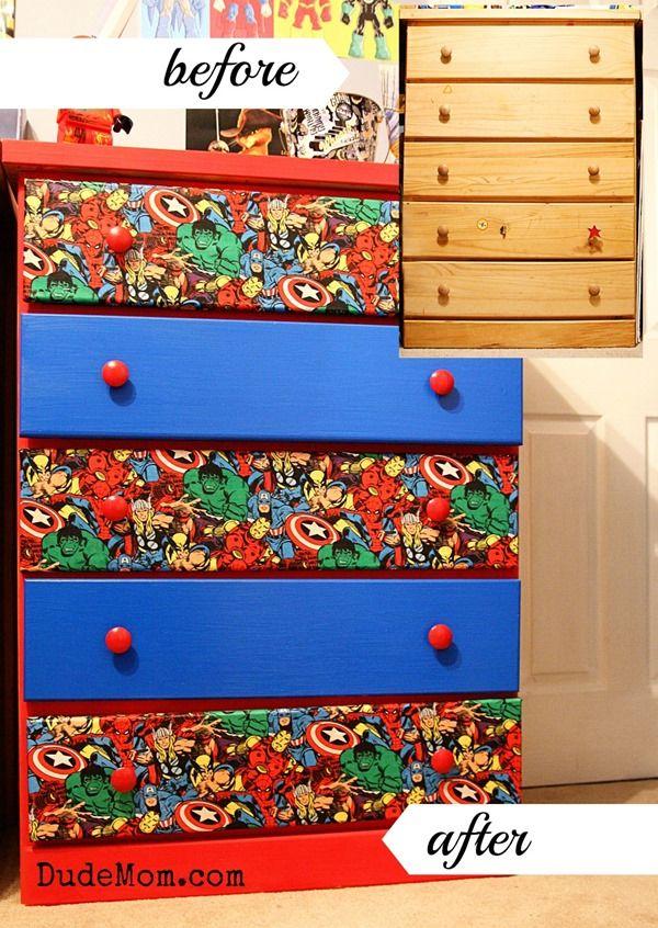 Boys room ideas diy superhero dresser makeover dresser for Fabric for boys room