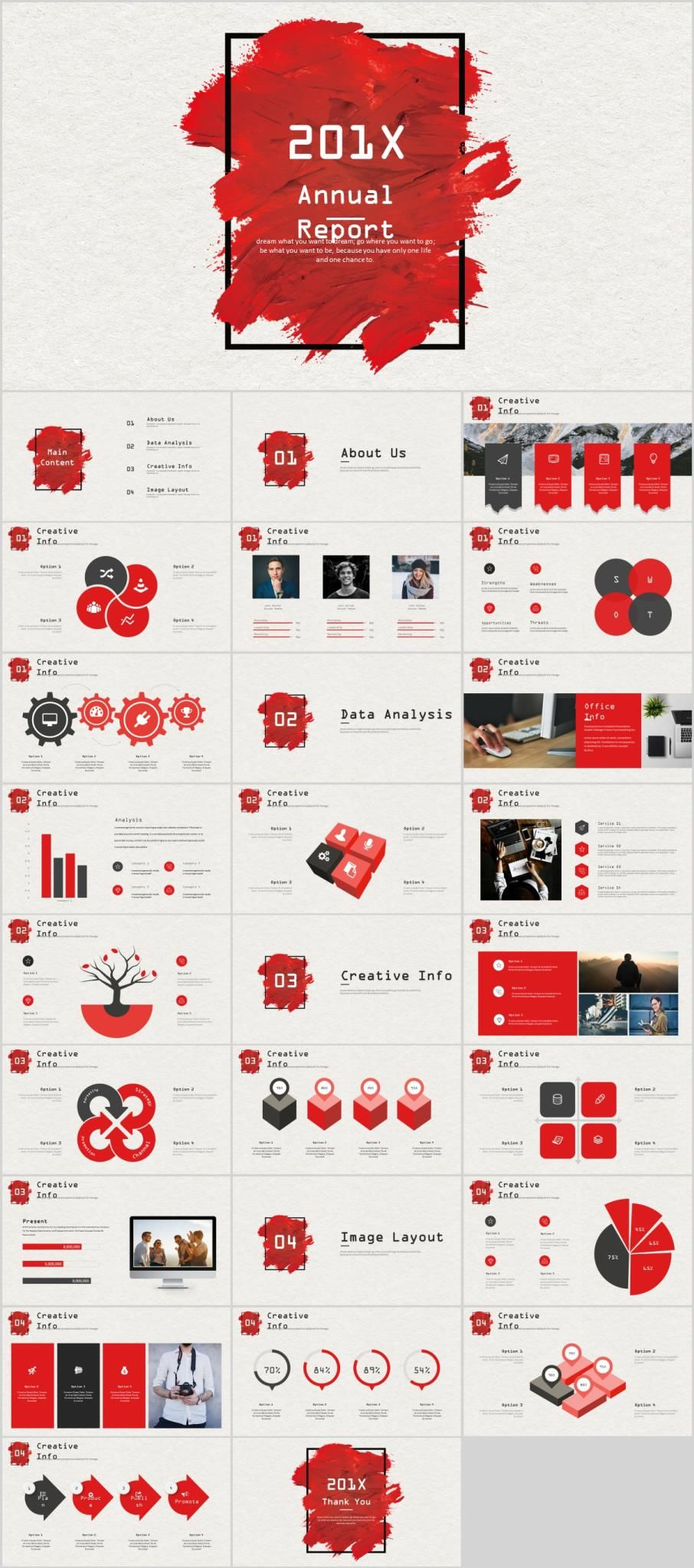 red company annual report powerpoint template document