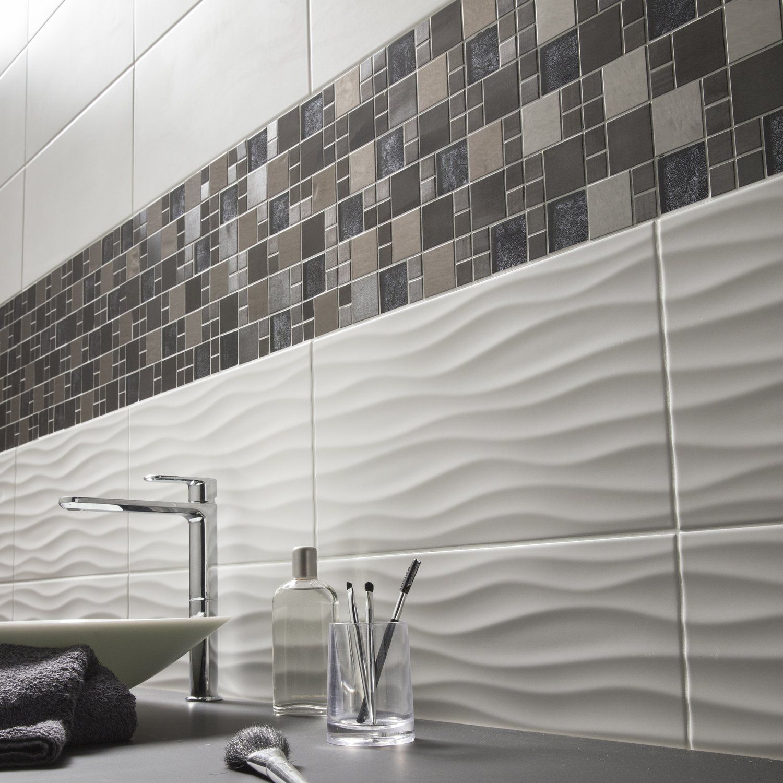 Mur De Mosaique Et Carrelage Relief Blanc Gris Noir Marron Pour Salle De Bain Salle De Bains Blanche Et Grise Idee Salle De Bain Salle De Bains Moderne