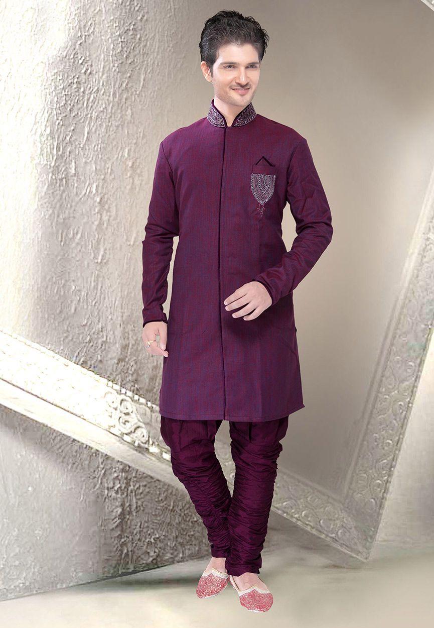 Buy violet art silk readymade sherwani online work embroidered