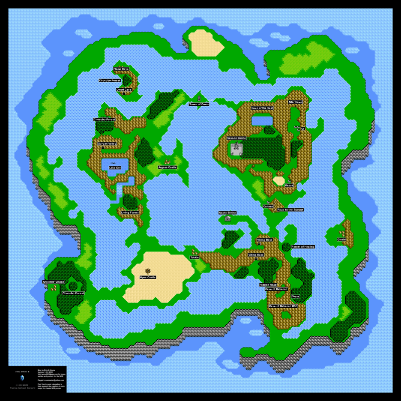Final Fantasy Iii 3 Floating Continent Overworld Poster Map 24 X 24
