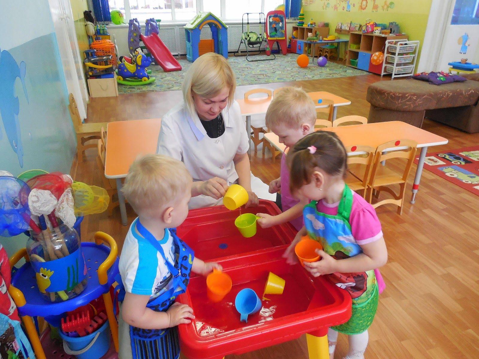 Игры с водой и песком в детском саду с детьми раннего ...