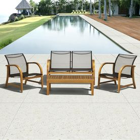 Wood Patio Furniture With Cushions international home 4-piece brown wood patio conversation set