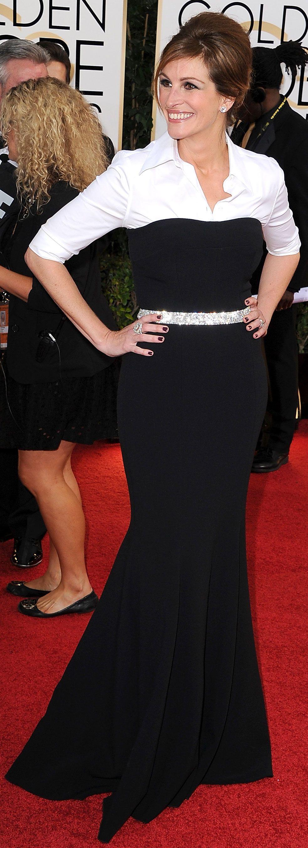 Is Julia Roberts S Layering Trick A Red Carpet Do Or Don T Julia Roberts Dresses Red Carpet Fashion [ 2704 x 983 Pixel ]