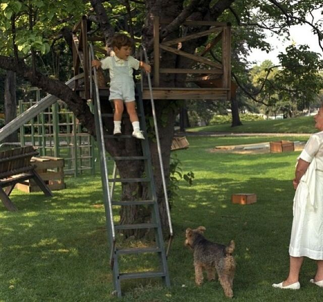 John jr playing on the Whitehouse grounds while nanny Maude Shaw and dog Charlie watch.