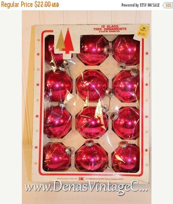 30 OFF SALE Vintage Pink Glass Christmas Ornaments Ornaments in Box - christmas decorations sale
