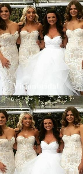 Classy Sweetheart Mermaid Lace Bridesmaid Dresses, Newest Bridesmaid Dresses, VB02752 #lacebridesmaids