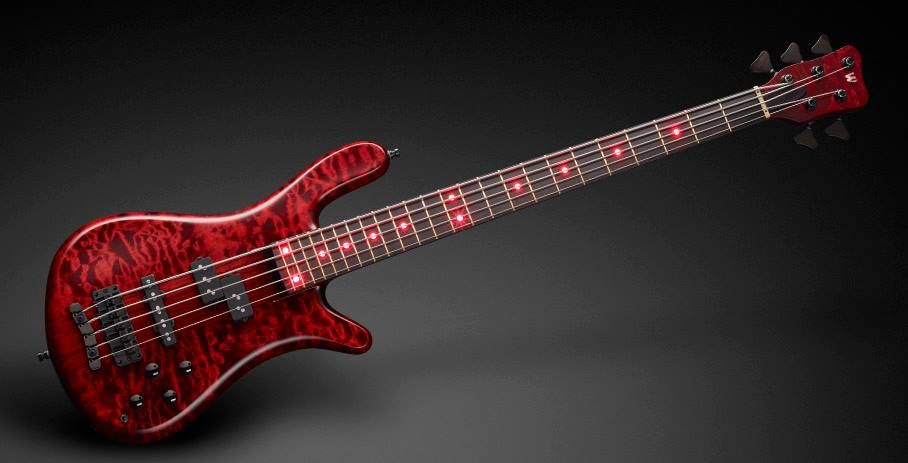 """Framus & Warwick Streamer Stage I 5 strings 1"""" AAA Quilted Maple top / Alder back Red front and side LEDs"""