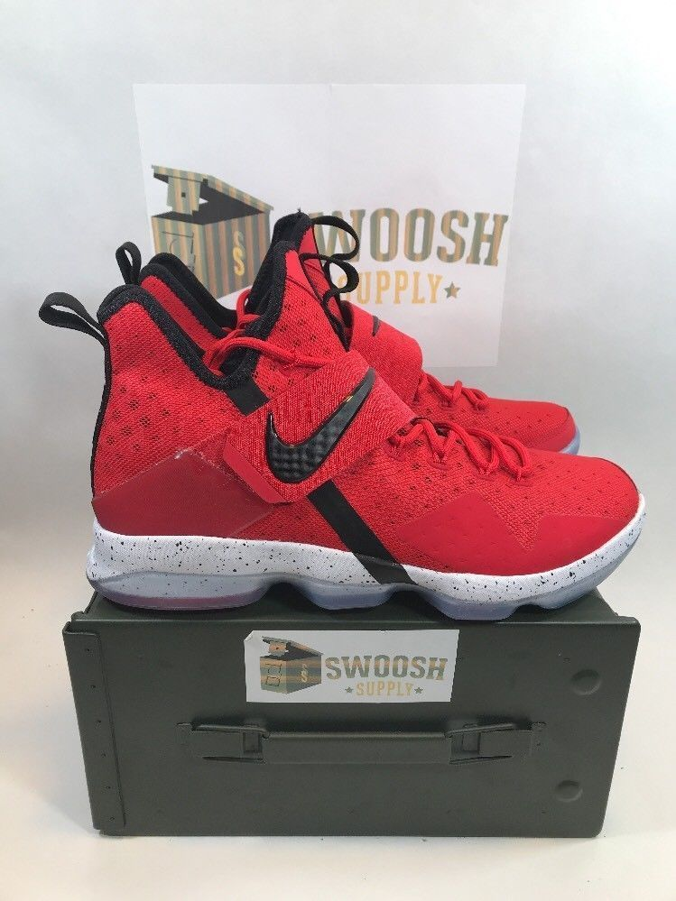 Nike Lebron 14 XIV University Red Black White Brick Road 852405-600 Mens  Size  Nike  BasketballShoes 5cc3d2351