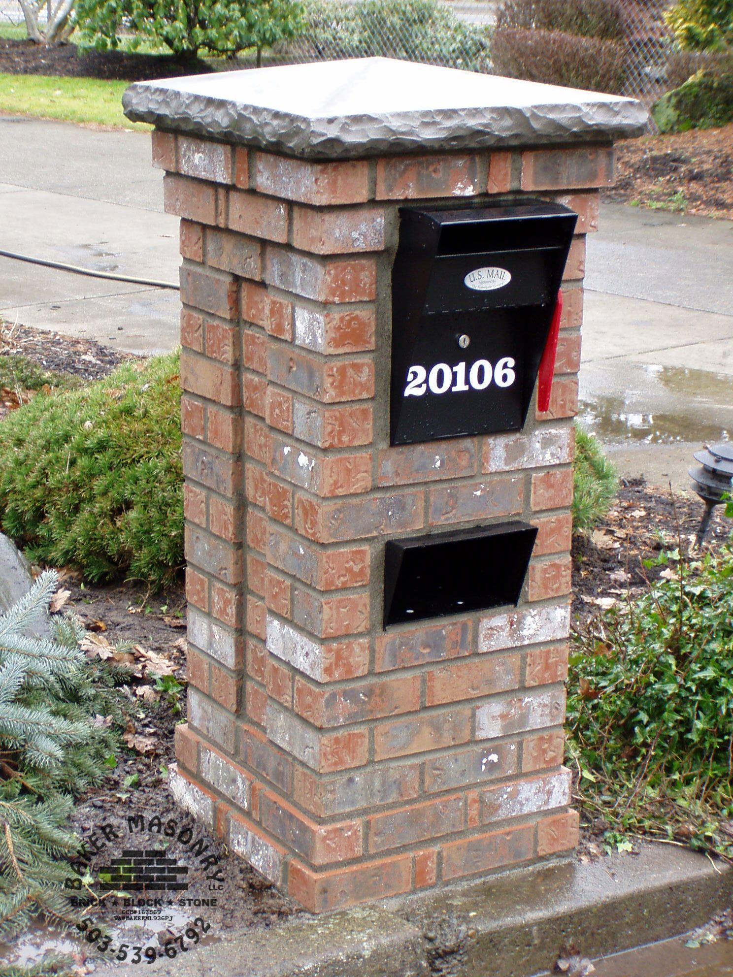 Brick mailbox with stone cap Brick mailbox, Stone