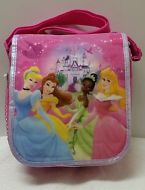NEW! DISNEY PRINCESS CINDERELLA AURORA BELLE TIANA Pink Messenger Soft Lunchbox