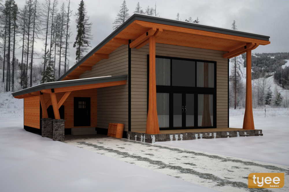 Tyee Homes British Columbia The Back Country 1250 Sq Ft Mountain Modern Plans Small House Plans Small Cabin Plans Mountain Modern
