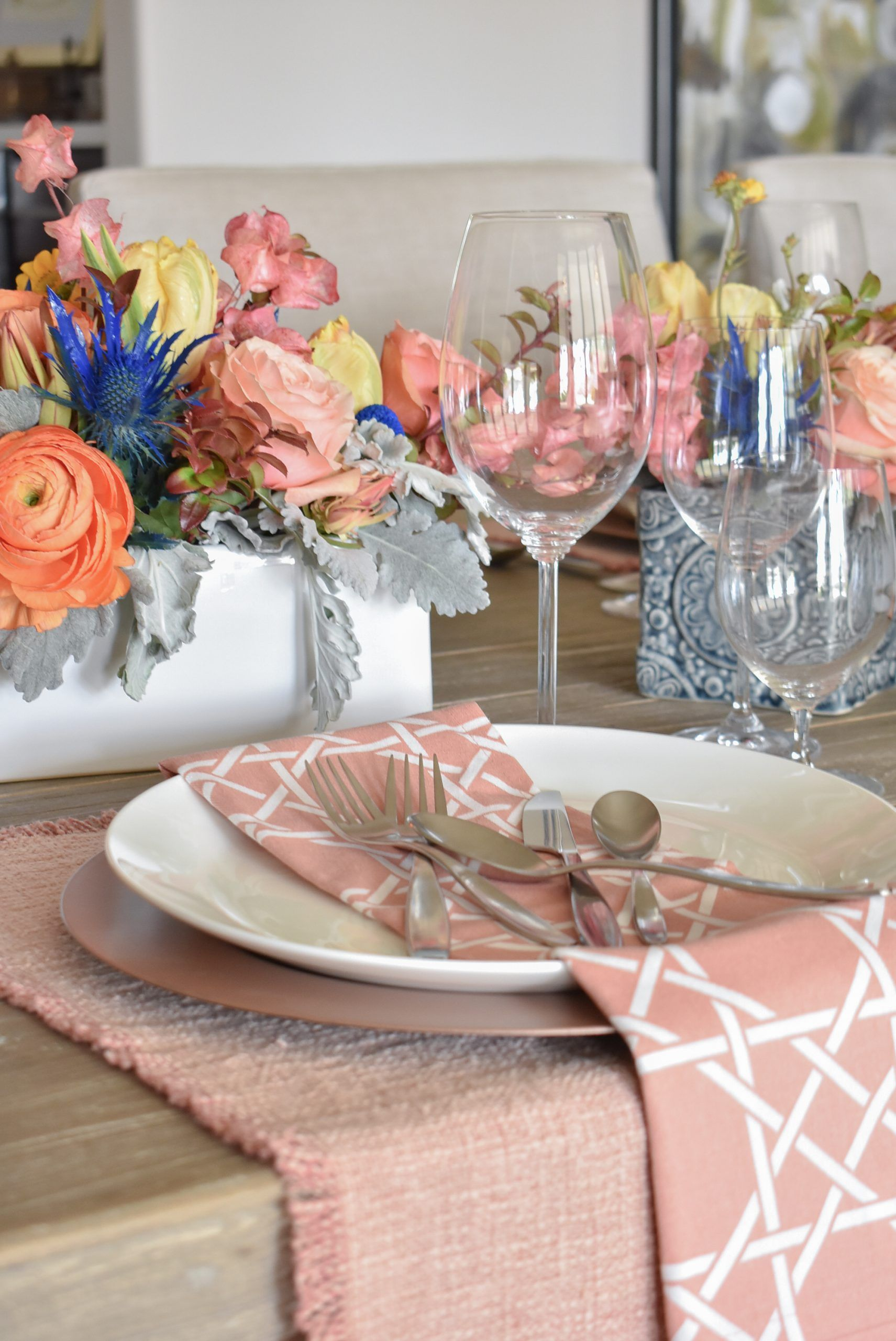 Blush Pink And Blue Spring Tablescape In 2020 Spring Tablescapes Pink Placemats Tablescapes
