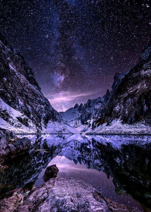 """虛幻景觀。  lori-rocks:""""夜幕降臨阿爾卑斯山......由Fabio Antenore"""" uploaded by 劉哲麟"""