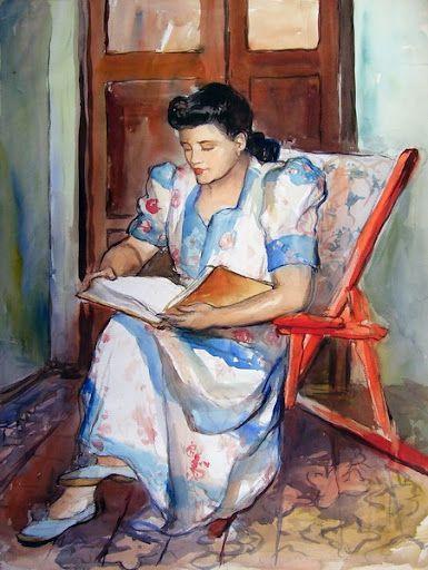 """La Lectura""(Woman reading) ,1930. Dr. Teodoro Núñez Ureta (1912 - 1988)."