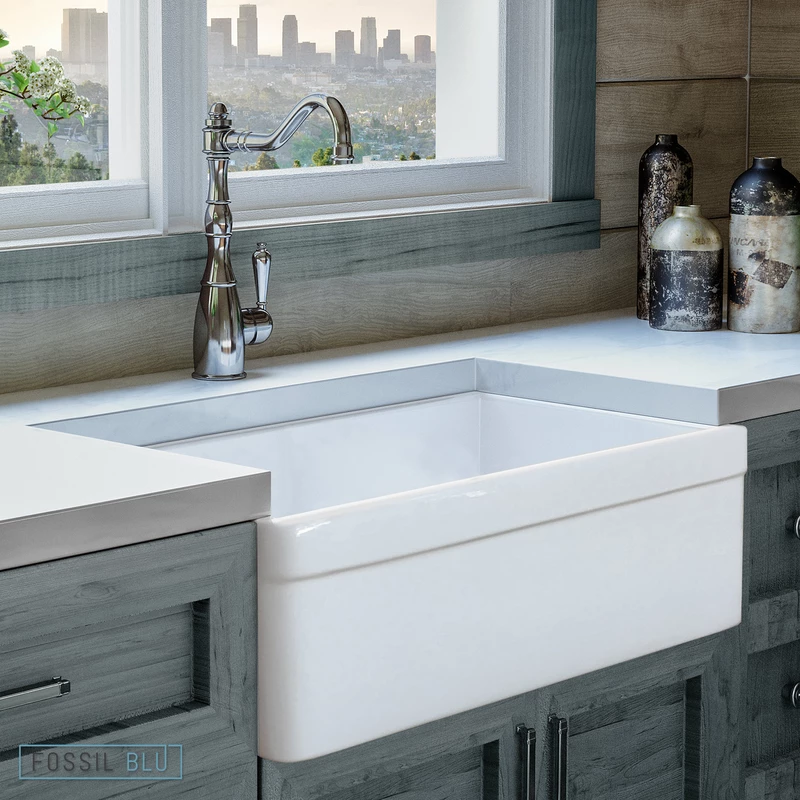 Fsw1004 Luxury 30 Inch Pure Fireclay Modern Farmhouse Sink In White Belted Apron Free Grid Always Wanted To Discov In 2020 Farmhouse Sink Farmhouse Sink Kitchen Sink