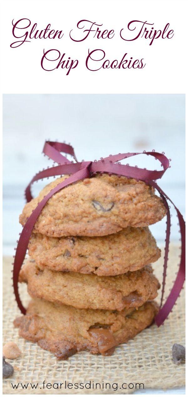 Gluten Free Triple Chip Cookies http://www.fearlessdining.com