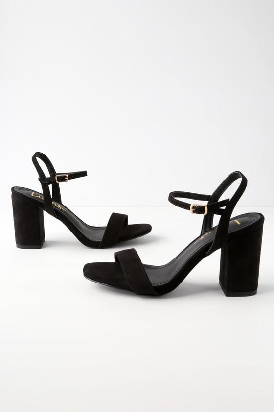 Arya Black Suede High Heel Sandals Suede High Heels Ankle Strap Heels Black Ankle Strap Heels
