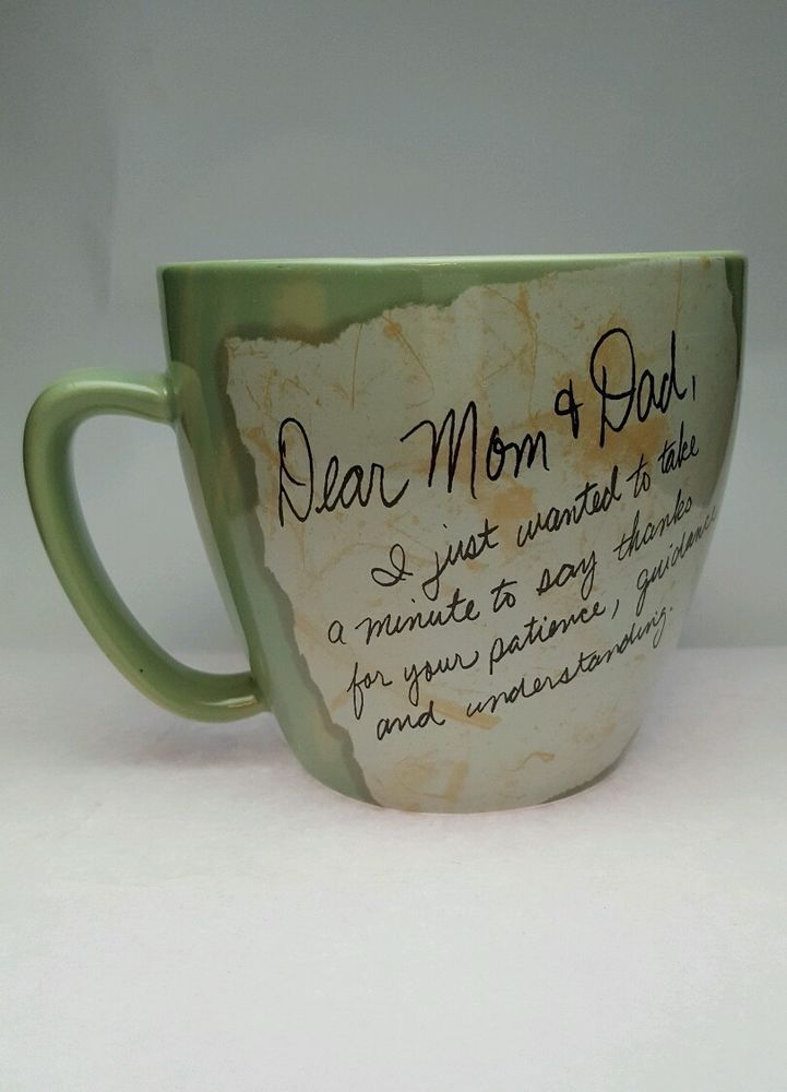 lifes letters by carson coffee mug cup mom dad thanks love green 16oz lifeslettersbycarson