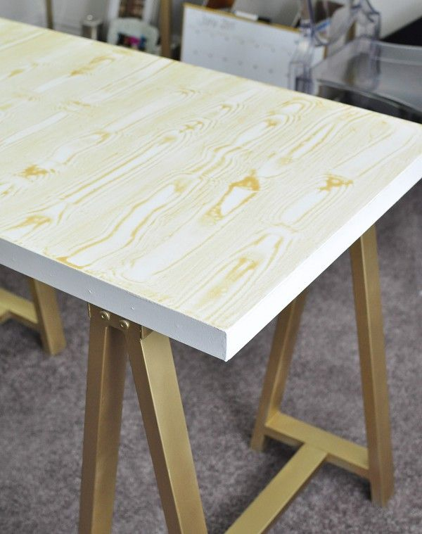 Superb A Gorgeous DIY Gold Faux Bois Sawhorse Desk Inspired By A $699 Version From  PB Teen