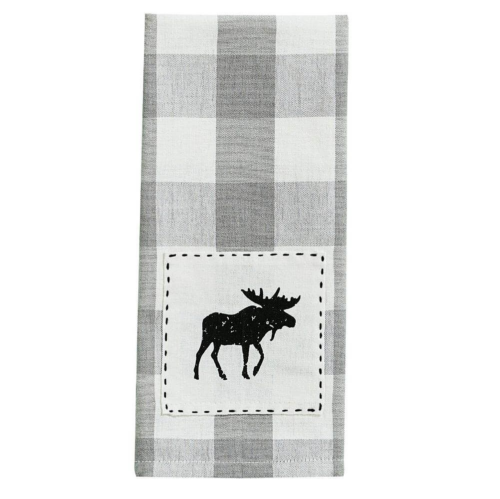 Gray Plaid Moose Dish Towel Plaid Moose Buffalo Check Pillows Dish Towels