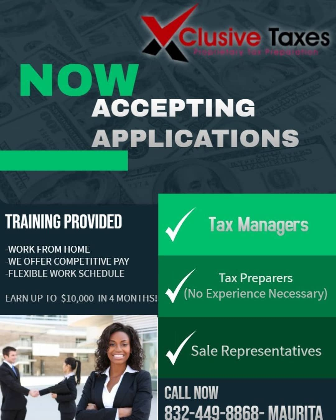 We Are Now Accepting Applications For The Upcoming Tax Season 2020