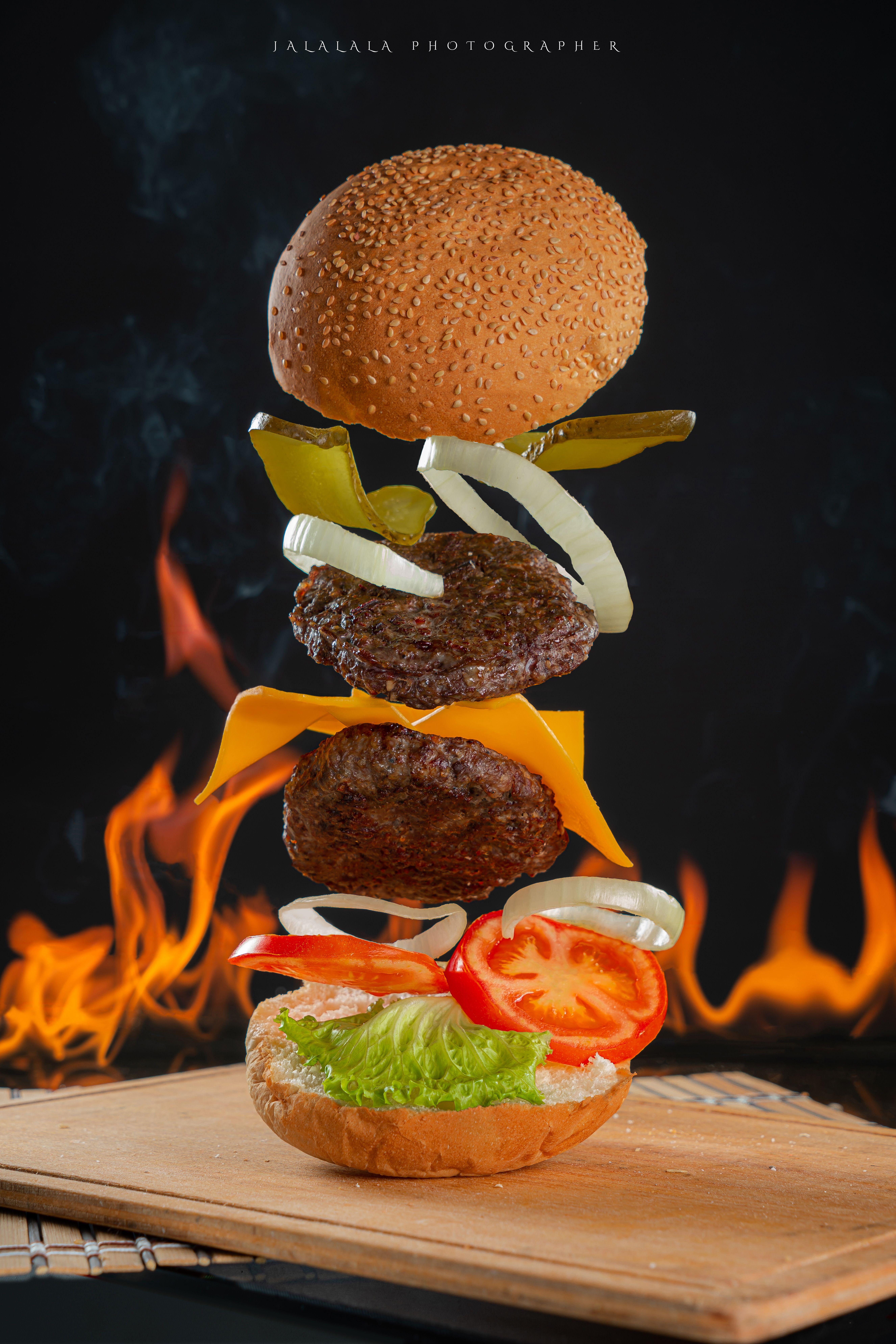 Floating Burger Food Food Photo Food Photography